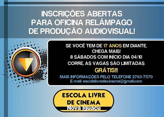 """Escola Livre de Cinema de Nova Iguaçu abre inscrições para """"oficina relâmpago"""""""