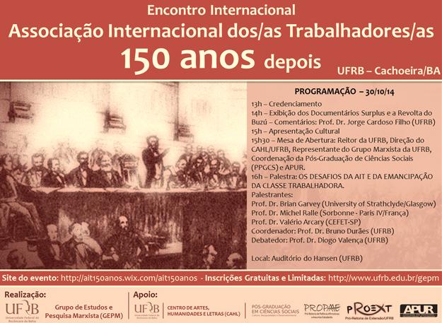 UFRB sedia Encontro Internacional em homenagem aos 150 anos da AIT