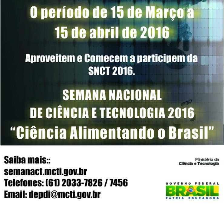 Concurso selecionará logomarca da Semana Nacional de Ciência e Tecnologia 2016